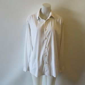 THEORY WHITE BUTTON DOWN COLLARED SHIRT S: L *
